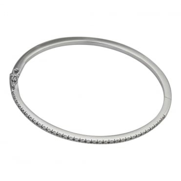 18ct White Gold Diamond Hinged Bangle