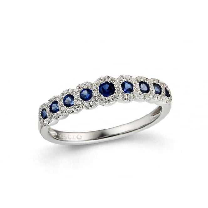 Finnies The Jewellers 18ct White Gold Diamond & Sapphire Graduated Halo Eternity Ring