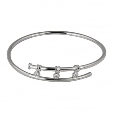 18ct White Gold Diamond Torque Bangle 0.21ct