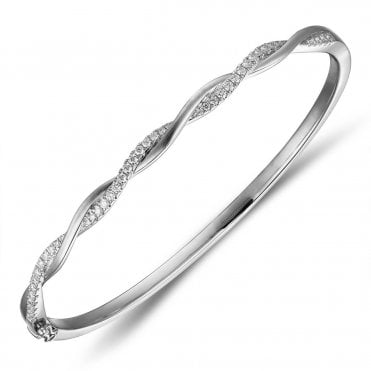 18ct White Gold Diamond Twist Bangle