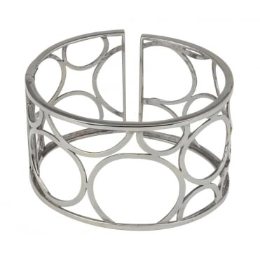 18ct White Gold Textured Multi Circles Broad Cuff