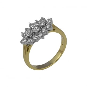 18ct Yellow and White Gold Diamond Cluster Ring 1.09ct
