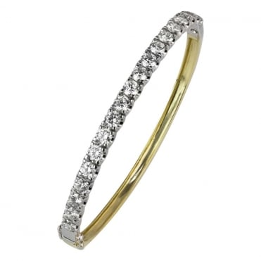 18ct Yellow and White Gold Diamond Hinged Bangle 4.64ct