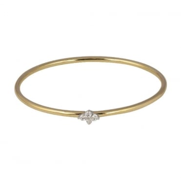 18ct Yellow and White Gold Diamond Sprung Bangle
