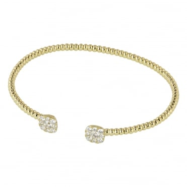 18ct Yellow Gold Beaded Torque Bangle with Diamonds 0.92ct