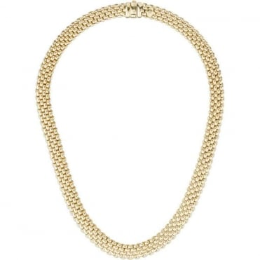 18ct Yellow Gold Brick Link Complete Necklet