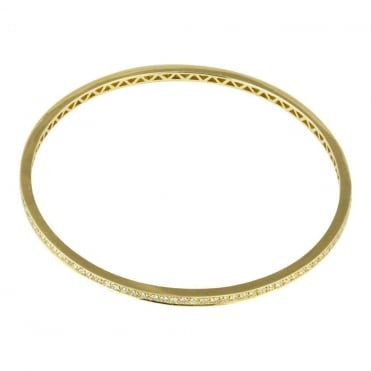 18ct Yellow Gold Round Brilliant Diamond Slave Bangle