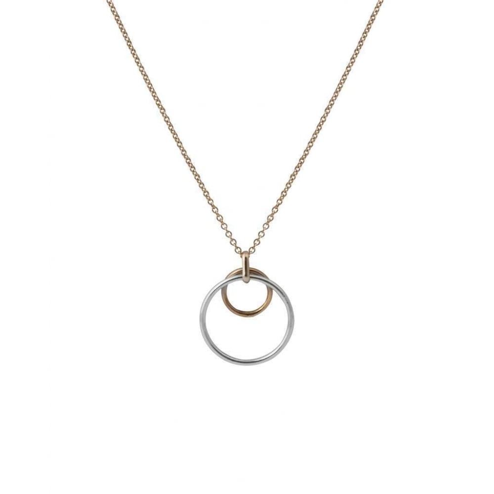 9ct rose and white gold double circle pendant 9ct rose and white gold double circle pendant and chain aloadofball Image collections