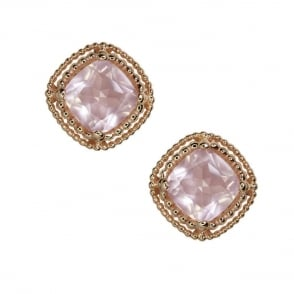 Finnies The Jewellers 9ct Rose Gold Cushion Cut Rose Quartz Earrings