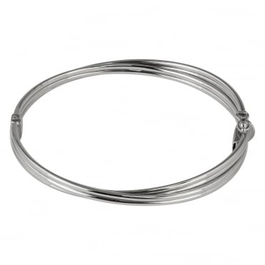 9ct White Gold Two Row Crossover Hinged Bangle