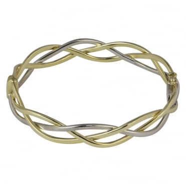 9ct Yellow and White Gold Three Strand Entwined Hinged Bangle