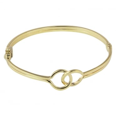 9ct Yellow Gold Double Entwined Circle Bangle