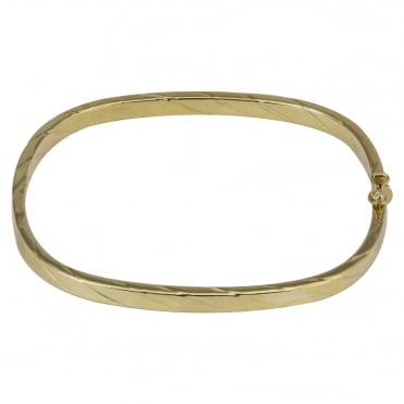 9ct Yellow Gold Flat Square 4mm Hinged Bangle