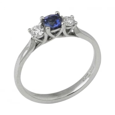 Platinum Diamond and Blue Sapphire Three Stone Ring