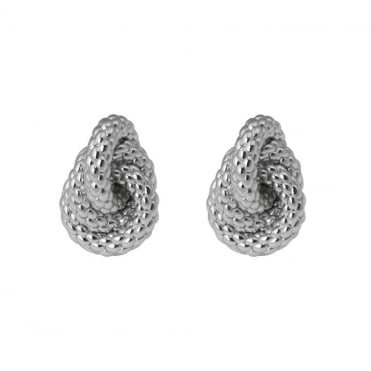 18ct White Knot Earrings