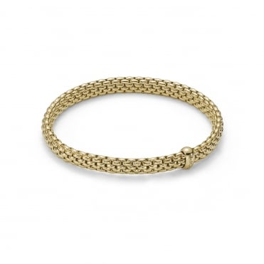 18ct Yellow Gold Brick Link Rope Expanding Bangle