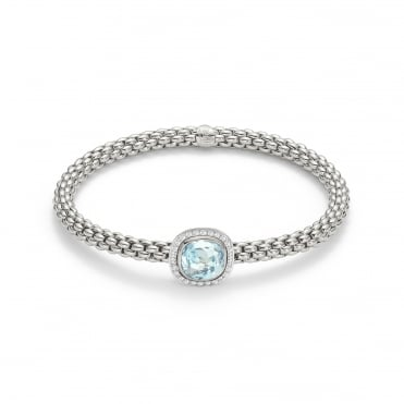 18ct Yellow & White Gold Aquamarine & Diamond Bracelet