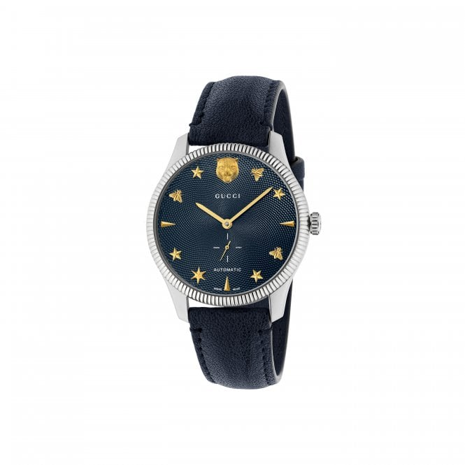 a389f092fd2e Gucci G-Timeless Automatic Stainless Steel Blue Strap Watch