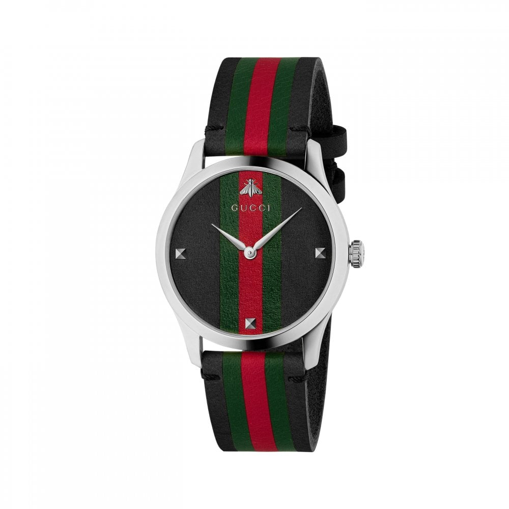 96385606c G-Timeless Black Green and Red Leather Strap Watch