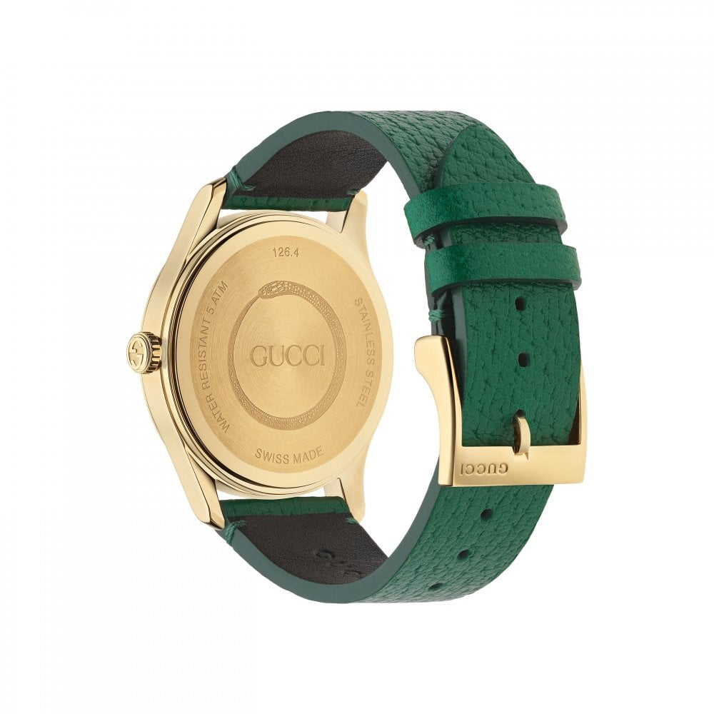 f7240e49f6 G-Timeless Green Bee Leather Strap Watch