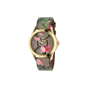 G-Timeless Pink Blooms strap watch