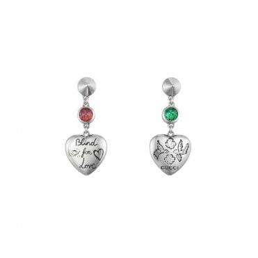 506e8ce0f Gucci Silver Green and Pink Zirconia Blind For Love Heart Drops