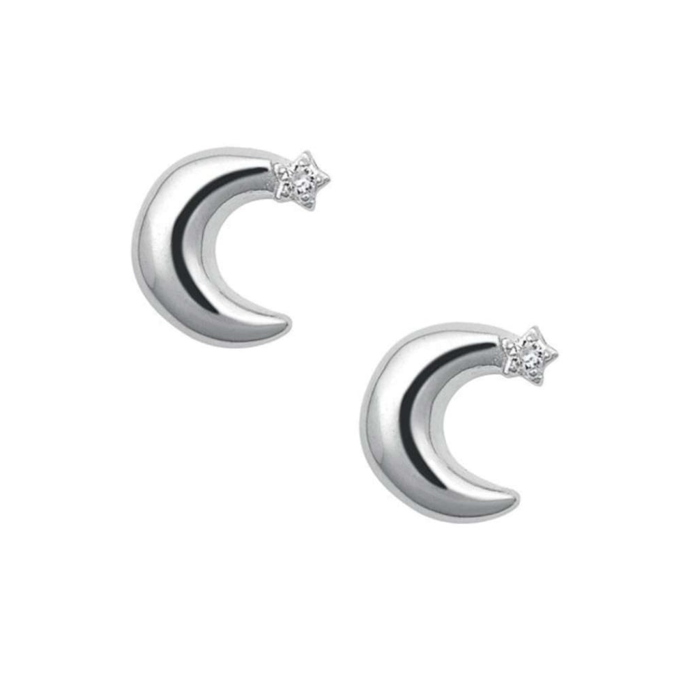 b55102a5b Sterling Silver Over The Moon Stud Earrings with White Sapphire