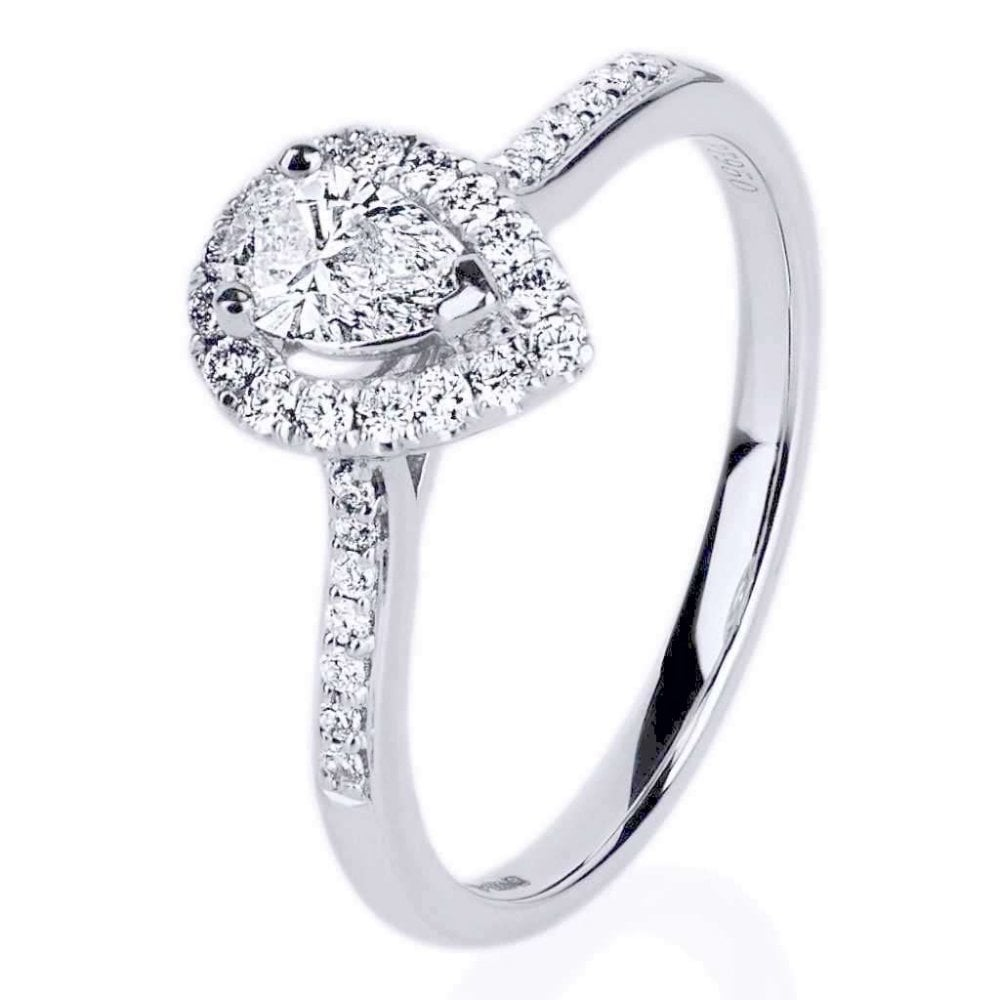 Finnies The Jewellers Platinum Solitaire Diamond 0 42ct Halo Ring Diamond  Shoulders