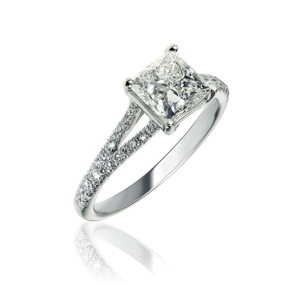 b0c5260cc82d54 Finnies The Jewellers Platinum Solitaire Princess Cut Diamond Ring ...