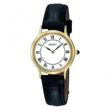 Gold plated quartz strap watch