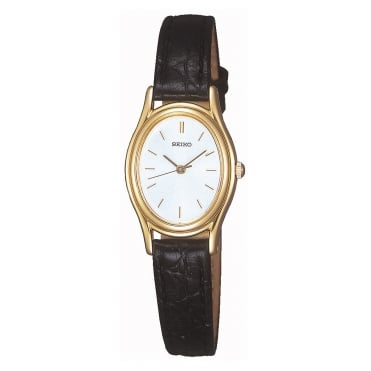 Gold plated strap watch
