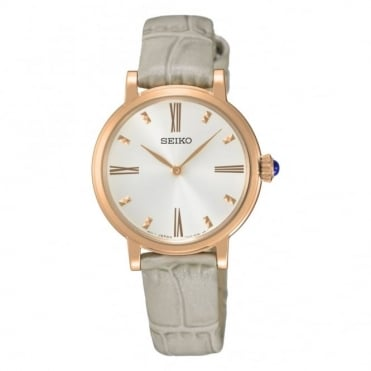 Rose gold plated strap watch