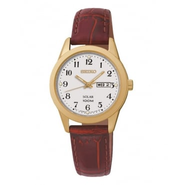 Solar gold plated strap watch