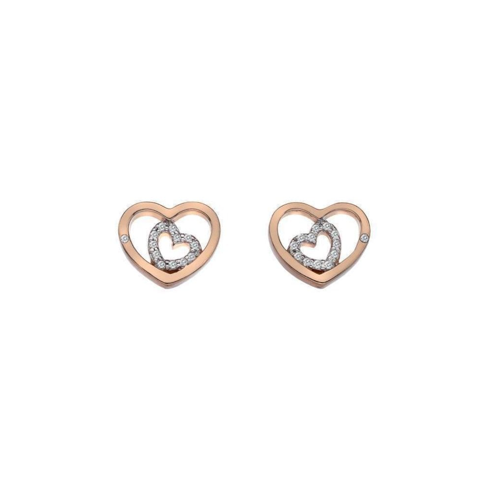 b534c92b3 Silver and Rose Gold Plated Open Double Heart Stud Earrings