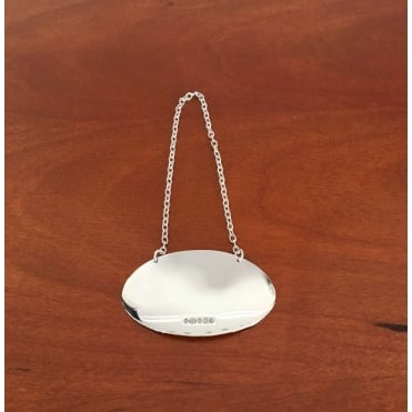 Silver Plain Oval Decanter Label