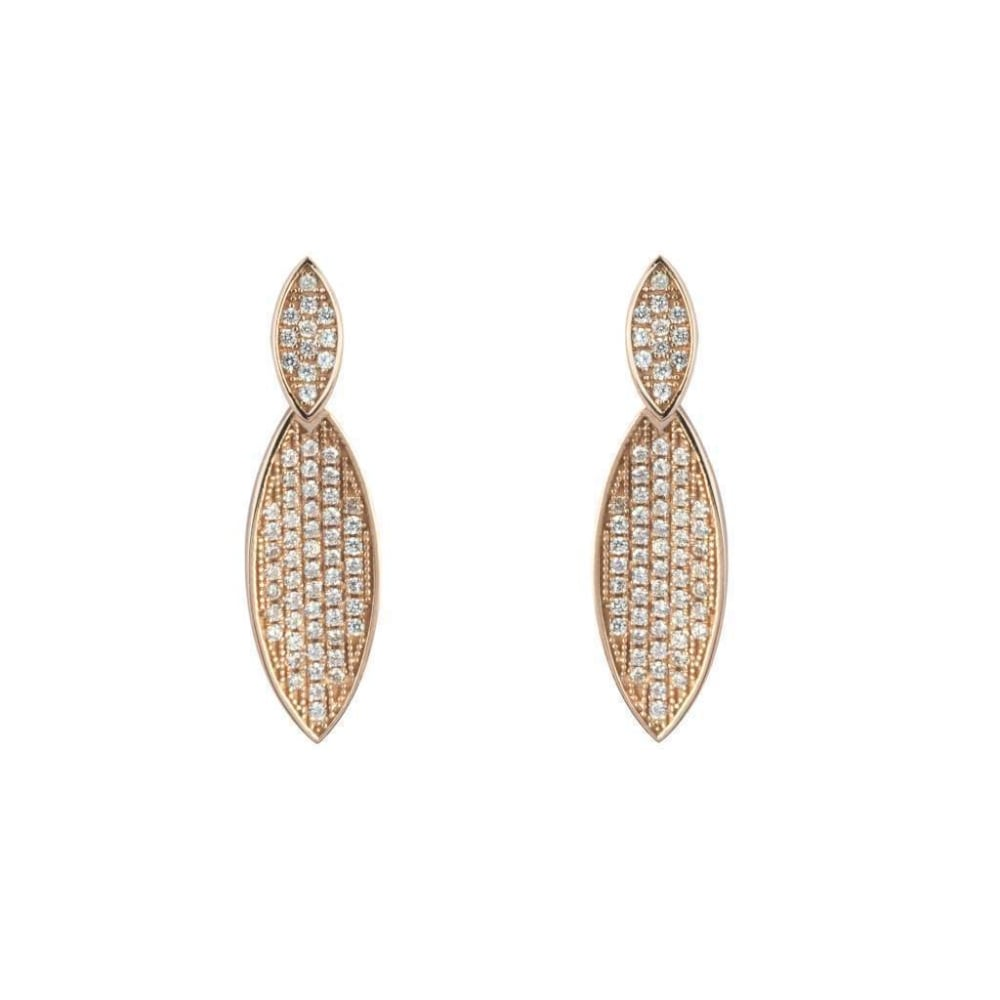 61d63b64d43c9 Finnies The Jewellers Silver & Rose Gold Plated Cubic Zirconia Marquise  Drop Earrings