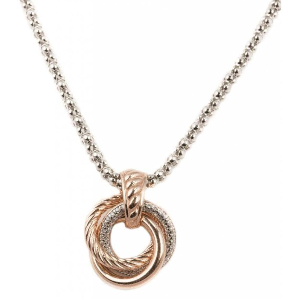 24a729881 Silver & Rose Gold Plated Cubic Zirconia Triple Circles Pendant