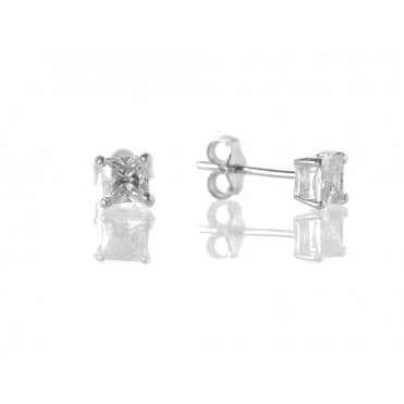 Sterling Silver 4mm Square Cut Cubic Zirconia Stud Earrings
