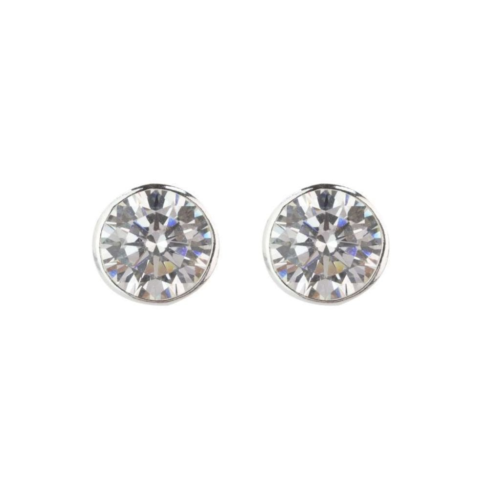 96d040bc4 Sterling Silver 8mm Round Cubic Zirconia Rubover Stud Earrings