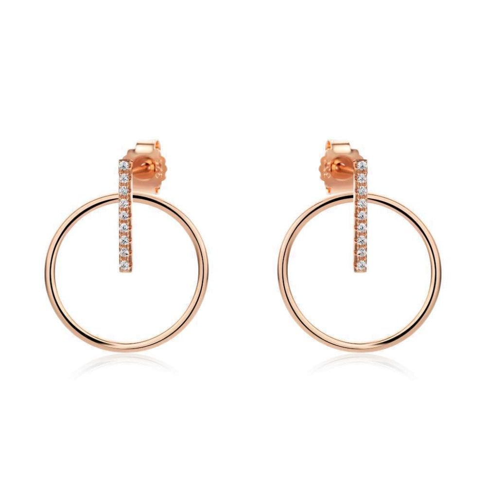 229382d98 Sterling Silver and Rose Gold Plated Open Circle Drop Earrings