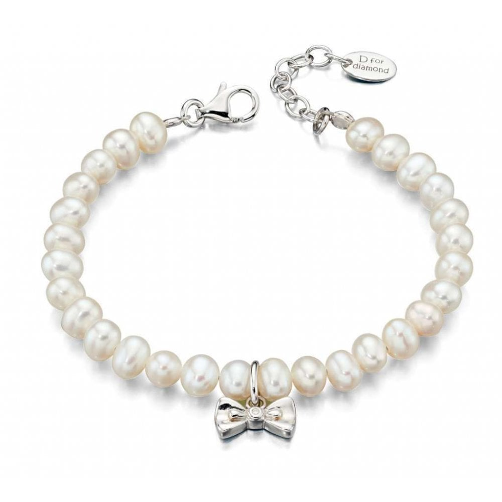 Sterling Silver Childrens Pearl Bracelet With Bow Charm