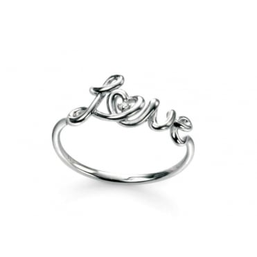 Sterling Silver Love Ring with Cubic Zirconium.