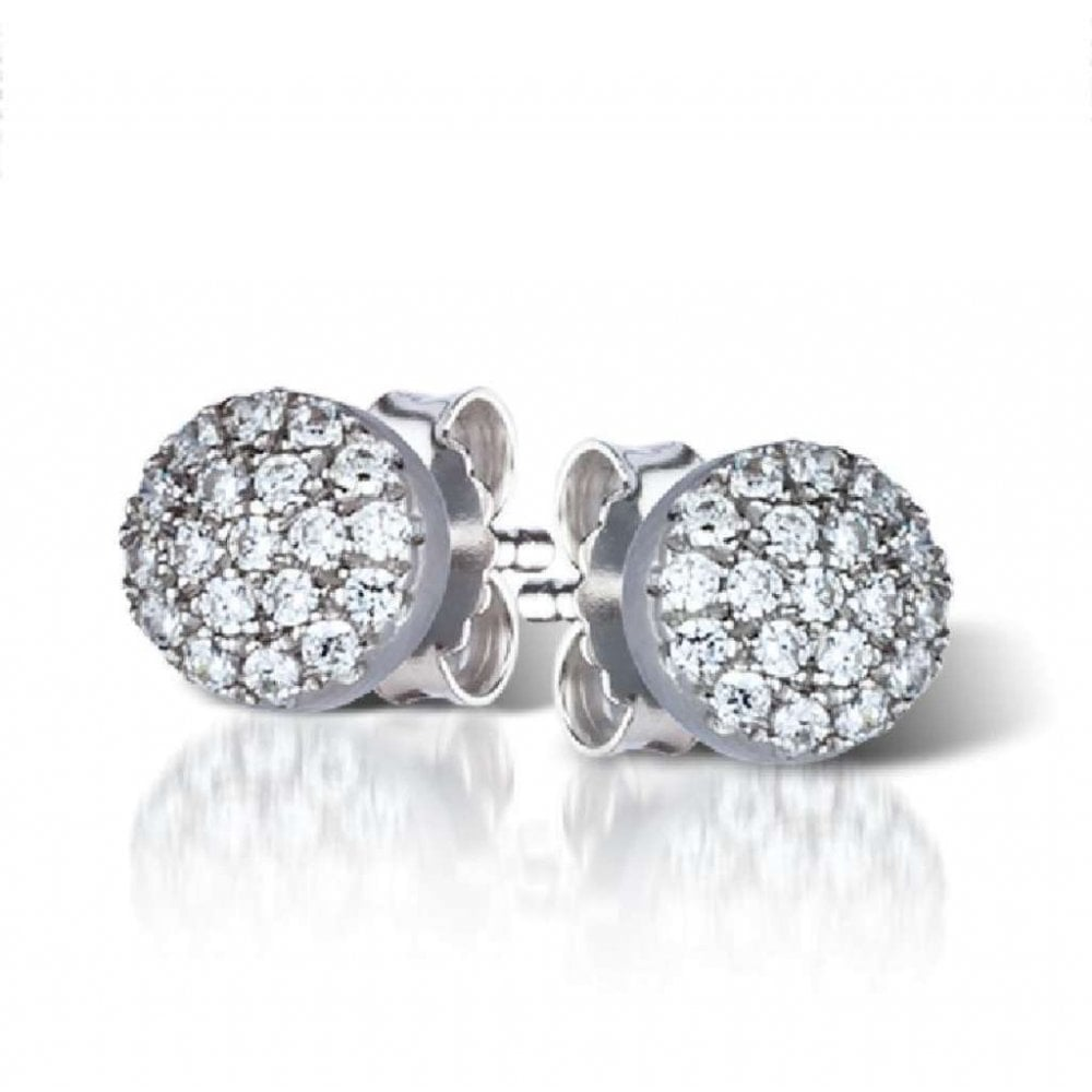 efaec306c Sterling Silver Round Pave Set Cubic Zirconia Stud Earrings