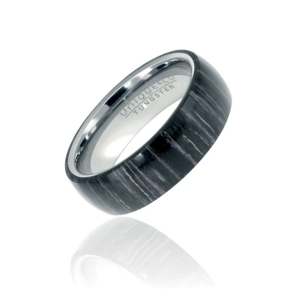 Tungsten Carbide Ring With Black Sandal Wood Veneer Inlay